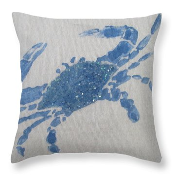 One Blue Crab On Sand Throw Pillow
