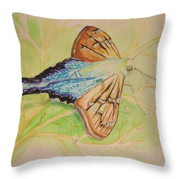 One Day In A Long-tailed Skipper Moth's Life Throw Pillow