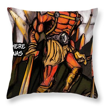 Throw Pillow featuring the painting One Day There Was A War by John Jr Gholson