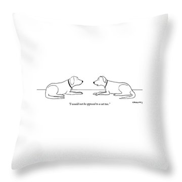 One Dog Says To Another Throw Pillow