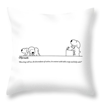 One Dog Speaks On A Podium To Several Throw Pillow