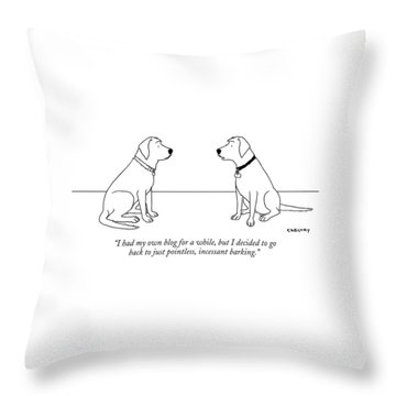 One Dog Talking To Another Throw Pillow