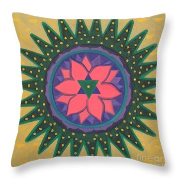 Throw Pillow featuring the painting One Gold Bindu by Mini Arora