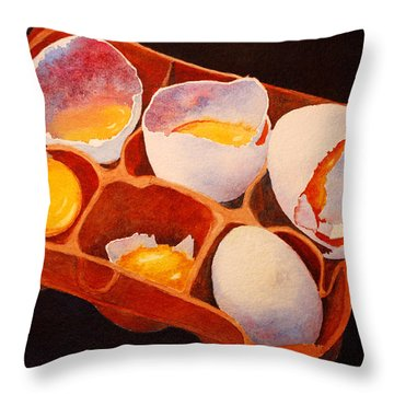 Throw Pillow featuring the painting One Good Egg by Roger Rockefeller