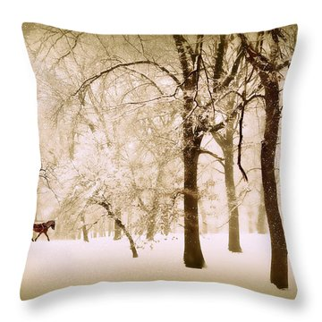 One Horse Open Sleigh Throw Pillow by Jessica Jenney