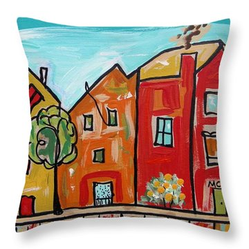 Throw Pillow featuring the painting One House Has A Screen Door by Mary Carol Williams