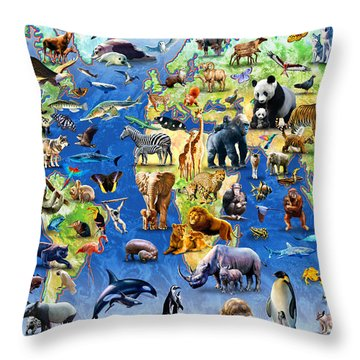 One Hundred Endangered Species Throw Pillow