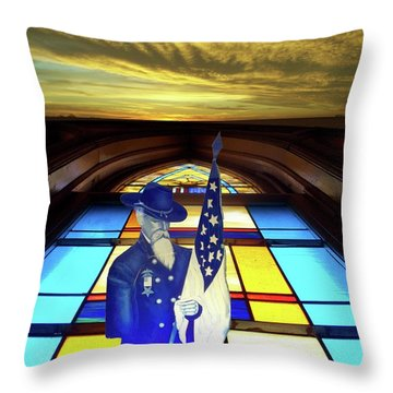 One Last Battle Union Soldier Stained Glass Window Digital Art Throw Pillow by Thomas Woolworth