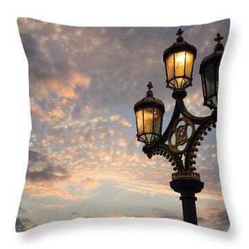 One Light Out - Westminster Bridge Streetlights - River Thames In London Uk Throw Pillow by Georgia Mizuleva