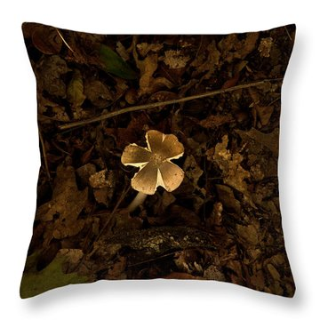 Throw Pillow featuring the photograph One Little Mushroom by Lena Wilhite