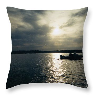 One Lonely Fisherman Throw Pillow by John Telfer