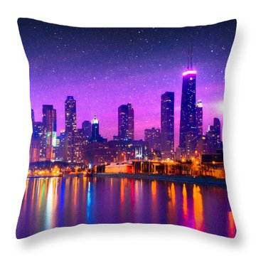 Throw Pillow featuring the photograph One Magical Night In The Windy City - Chicago Skyline by Mark E Tisdale