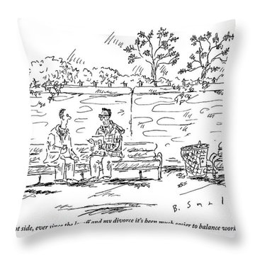 One Man To Another On A Park Bench Throw Pillow