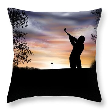 One More Hole - A Late Round Of Golf Throw Pillow