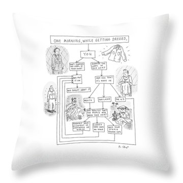 One Morning While Getting Dressed Throw Pillow