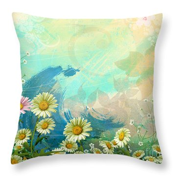 One Pink Daisy Throw Pillow by Bedros Awak