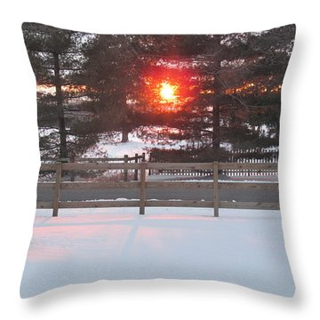 One Rare Winter Sunset Throw Pillow