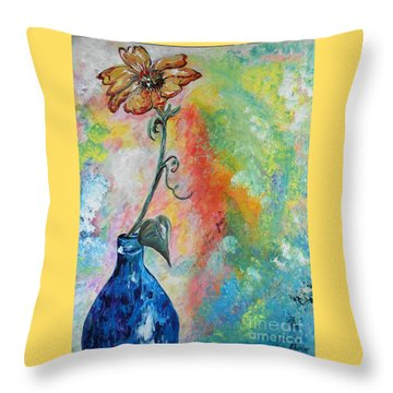 One Solitary Flower Throw Pillow by Eloise Schneider