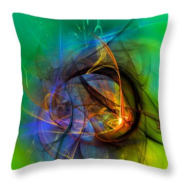Colorful Digital Abstract Art - One Warm Feeling Throw Pillow
