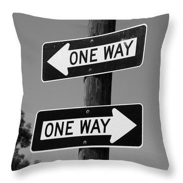 Throw Pillow featuring the photograph One Way Or Another - Confusing Road Signs by Jane Eleanor Nicholas