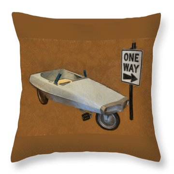 One Way Pedal Car Throw Pillow by Michelle Calkins