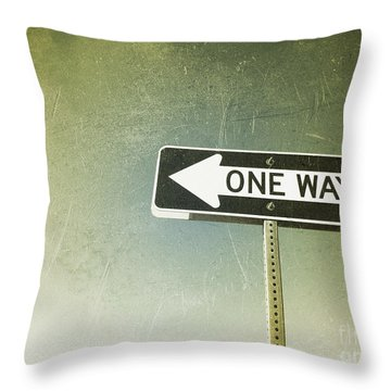 One Way Road Sign Throw Pillow