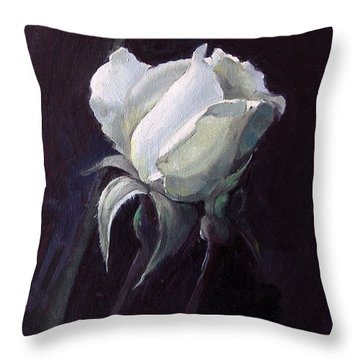 One White Rose Throw Pillow
