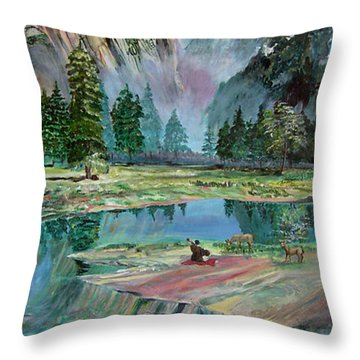 One With Nature Throw Pillow by Sarabjit Singh