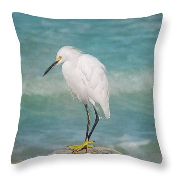 One With Nature - Snowy Egret Throw Pillow