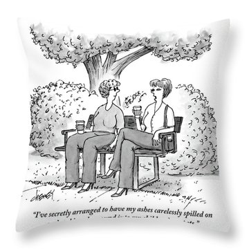 One Woman Speaks To Another As They Sit On A Park Throw Pillow