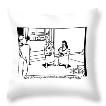 One Woman To Another At A Cocktail Party Throw Pillow