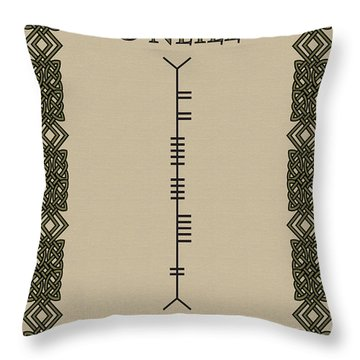 Throw Pillow featuring the digital art O'neill Written In Ogham by Ireland Calling