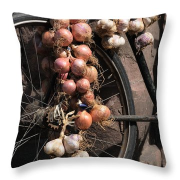 Onions And Garlic On Bike  Throw Pillow by Jeremy Voisey