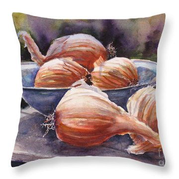 Onions Throw Pillow by Mohamed Hirji