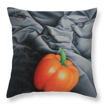 Throw Pillow featuring the painting Only Orange by Pamela Clements