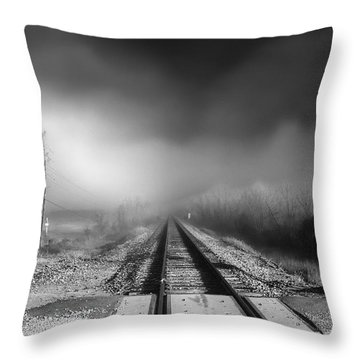 Onward - Railroad Tracks - Fog Throw Pillow