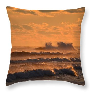 Opal Beach Sunset Colors With Huge Waves Throw Pillow by Jeff at JSJ Photography