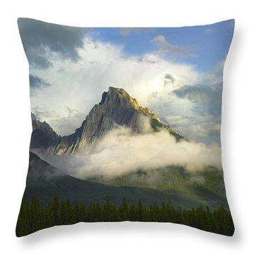 Opal Range In Fog Kananaskis Country Throw Pillow