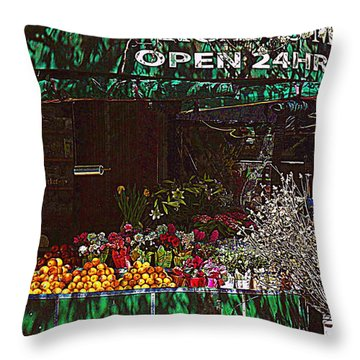 Throw Pillow featuring the photograph Open 24 Hours by Miriam Danar