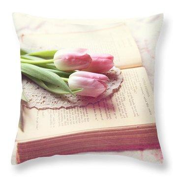 Open Book Throw Pillow by Sylvia Cook