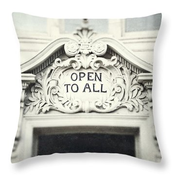 Open To All Throw Pillow by Lisa Russo