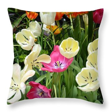 Open Tulips Throw Pillow by Kathleen Struckle