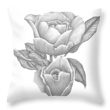 Throw Pillow featuring the drawing Opening Blooms by Patricia Hiltz