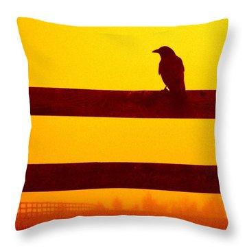 Opportunist In Orange Throw Pillow by Carlee Ojeda