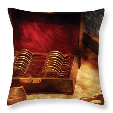 Optician - A Box Of Occulars  Throw Pillow by Mike Savad