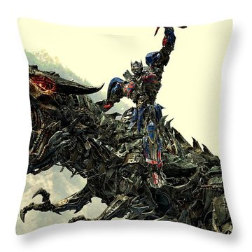 Optimus Prime Riding Grimlock Throw Pillow