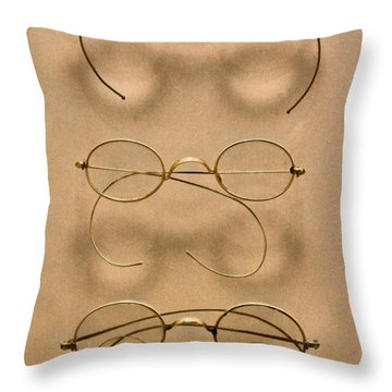 Optometrist - Simple Gold Frames Throw Pillow by Mike Savad