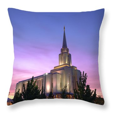 Oquirrh Mountain Temple Iv Throw Pillow by Chad Dutson