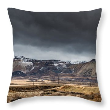Oquirrh Mountains Winter Storm Panorama 2 - Utah Throw Pillow