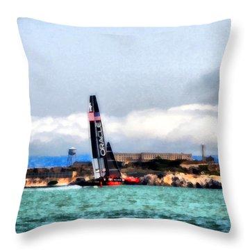 Oracle Team Usa And Alcatraz Throw Pillow